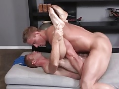 2 Str8-Bi Muscular guys have Bare Erotic Sex with Cumshots.