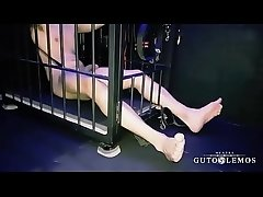 Digi Feet is ball stretched, spanked, feet bastinadoed and electroplugged by Master Guto Lemos