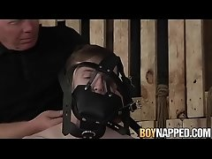 Tied up gay with mask sucked and fingered by Sebastian Kane
