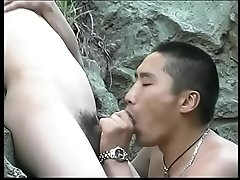 Petite Asian tranny gets her cock sucked by horny guy