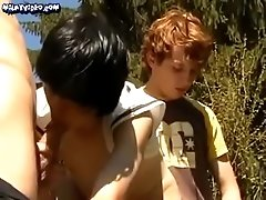 Trio twinks on first time barebacking outdoor