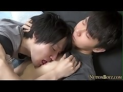 Japanese twink sucks cock