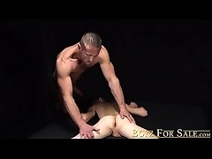 Barely legal twink bareback by muscular daddy and light BDSM