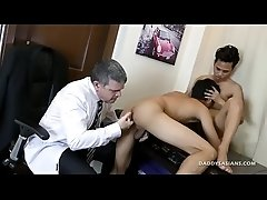 Dad and son office fuck