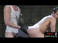 Cock eating bdsm twink ruins butthole